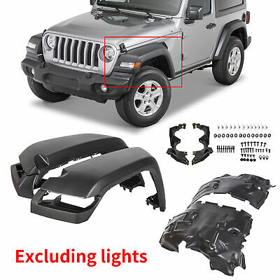$234.98 • Buy For 2018-20 Jeep Wrangler JL RUBICON Smooth Fender HIGH TOP Flares- Front 4pcs
