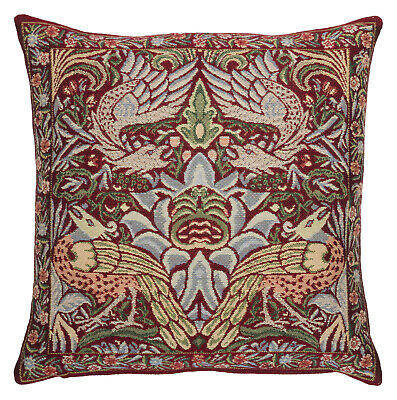William Morris Peacock And Dragon Red Tapestry Cushion 17  Made In England • 40£