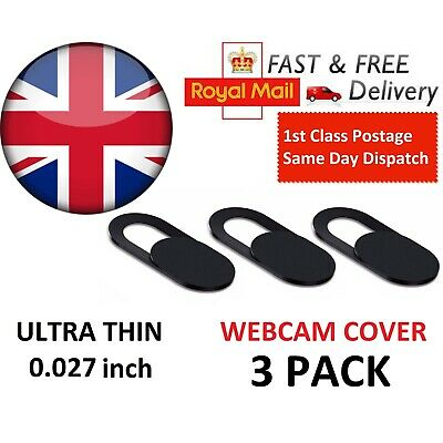 Webcam Cover 3 PACK Thin Camera Slider For Iphone Laptop Mobile Tablet • 2.20£