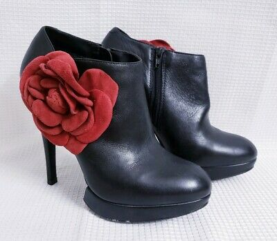 $ CDN51.61 • Buy Kelsi Dagger Rosabella Black Leather Platform Booties Sz 6.5 Red Flower