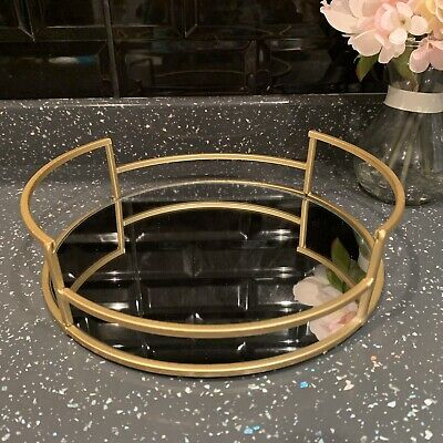 £16.99 • Buy 25cm Round Gold Mirror Tray Candle Plate Wedding Table  Perfume Mirror Tray
