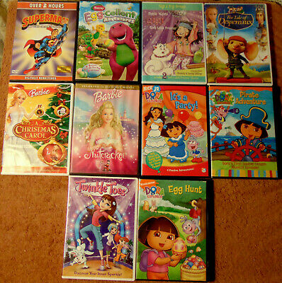 $ CDN28.21 • Buy Lot Of 10 ANIMATED CHILDREN'S DVDs - Dora The Explorer  Barbie  Barney +