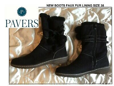Pavers Womens Faux Fur Lined Black Faux Suede Boots Size 5 (38) NWOB • 15£