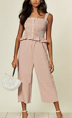 Women Ladies Summer Pink Check Cami Top With Trouser Co-ords Suit Jumpsuit • 11.99£