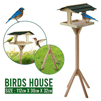 £19.89 • Buy Traditional Wooden Table Garden Birds House Free Standing Bird Feeding Feeder