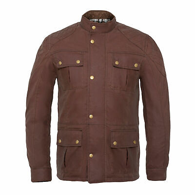 Men's Brown Waxed Cotton Motorcycle Jacket Textile Biker Armoured Fabric • 52.24£
