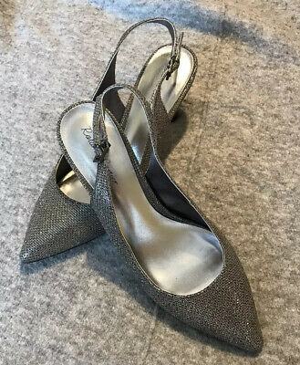 Roland Cartier Slingback Shoes Silver / Pewter Glitter  Size 6 Evening Wear • 20.49£