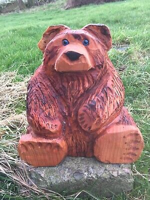 Chainsaw Carved Bear Sitting Bear Garden House Ornaments Carvings • 49.99£