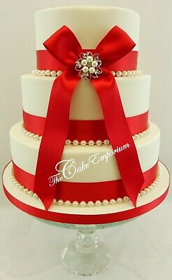 £15.99 • Buy WEDDING CAKE PEARL BROOCH WITH 35mm RIBBON & PEARLS REDS & PINKS CAKE TOPPER SET