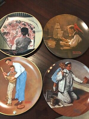 $ CDN20.11 • Buy Lot Of 4 Vintage Norman Rockwell Plates 1980-1991