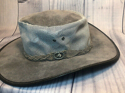 $ CDN32.07 • Buy SQUASHY GRIZZLY HATTERS Adult L Grey Suede Leather Vented Hat Australia Tasmania