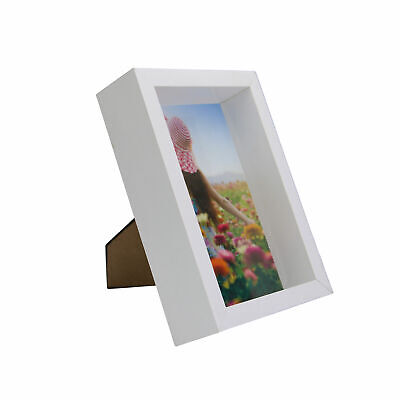 £7.39 • Buy 3D Box Photo Frame 4x6 Picture Storage White Shadow Memory Display Case M&W