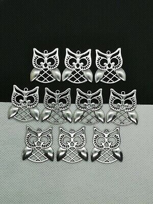 10 Large Silver 30mm Owl Charms (TSC 05) • 2.99£