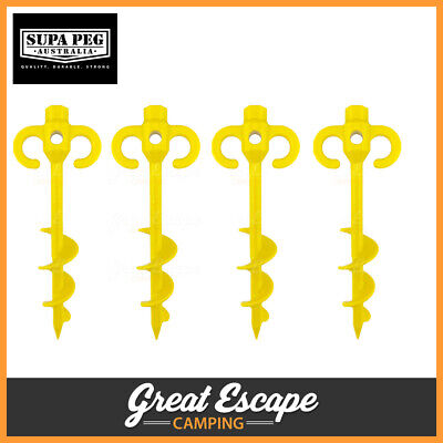 AU29.90 • Buy Supa Peg 300mm Screw Peg 4 Pack - Sand Screw Tent Pegs Heavy Duty Camping Pegs