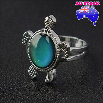 AU7.49 • Buy 18K White Gold Plated Adjustable Turtle Mood Temperature Colour Changing Rings
