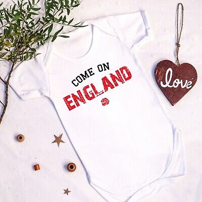 Come On England Baby Vest English Six 6 Rugby 1st First Football Euros Grow Gift • 10.99£