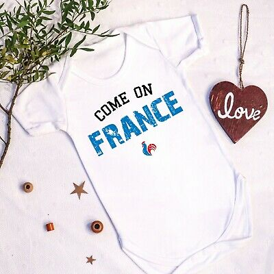 Come On France Baby Vest French Six 6 Rugby 1st First Football Euros Grow Gift • 10.99£