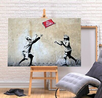 Banksy No Ball Games - Deep Framed Canvas Wall Art Graffiti  Print- Red • 14.99£
