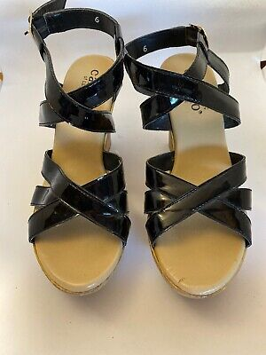 $6.50 • Buy Callisto Jarrod Wedge Sandals Black Patent Leather Heels Sz 6 EC