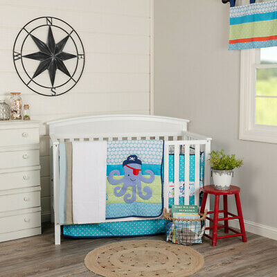 $99.95 • Buy Crib Set - Sea Pirate - 6-pc Baby Quilt, Sheets, Bumper, Valance, Bed Skirt