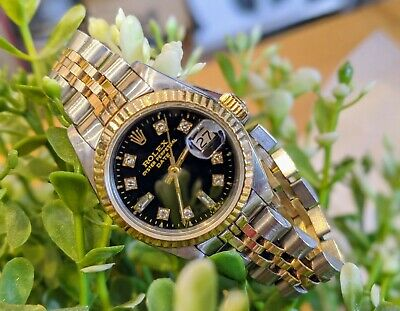 AU5217 • Buy Ladies Rolex Datejust 26 8+2 Diamond Black Dial Oyster Perpetual TwoTone Gold