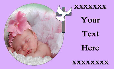 Personalised PHOTO Stickers Christening Gift Party Bag Sweet Cones Bottle Labels • 1.55£