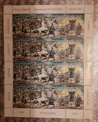 HUNGARY 1996 1100th ANNIVERSARY OF HUNGARIAN CONQUEST COMPLETE STAMP SHEET - MNH • 4£
