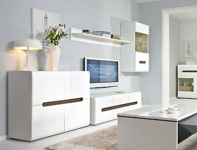 White Gloss Living Room Furniture Set Glass LED Cabinet TV Unit Sideboard Azteca • 589.95£