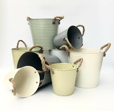 Vintage Metal Planter Garden Plant Herb Pot Rope Handles Wedding Centrepiece • 9.49£