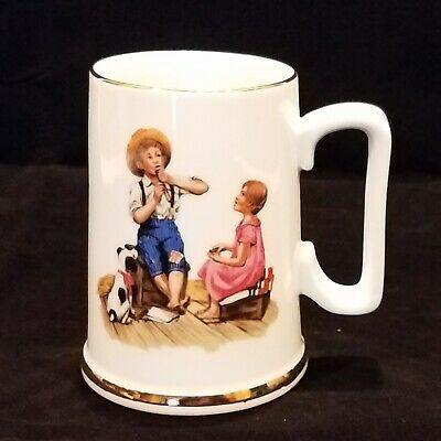 $ CDN5.94 • Buy NORMAN ROCKWELL Collectible White Tankard Mug Stein MUSIC MASTER Gold Trimmed