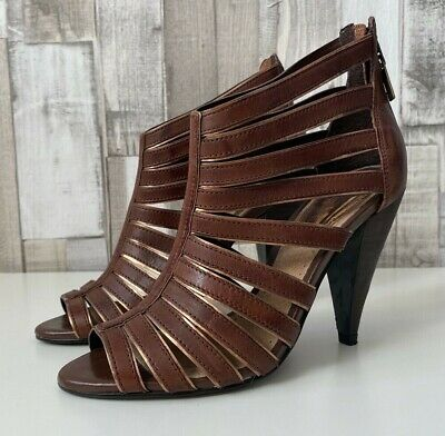 £24 • Buy River Island Brown Leather Strappy Gladiator Caged Sandals Size 3