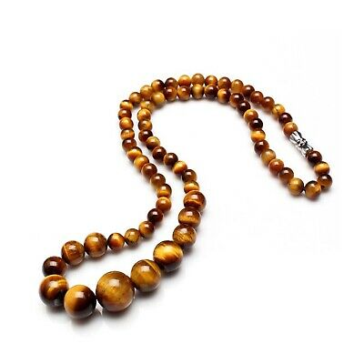 Tiger Eye Nature Stones Necklace 58 Cm Long With Various Size Beads Medium Long • 7.99£