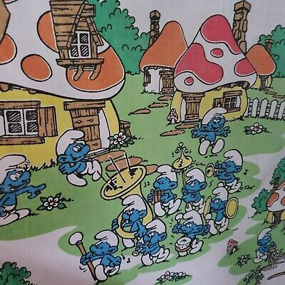 VINTAGE 1980's SMURF'S TWIN FITTED SHEET FOR KIDS BED OR USED AS FABRIC PIECES • 32.63£