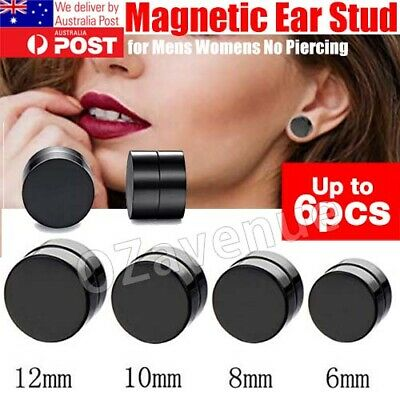 AU3.95 • Buy Black Pair Magnetic Earrings Ear Stud Mens Womens No Piercing Jewellery Round
