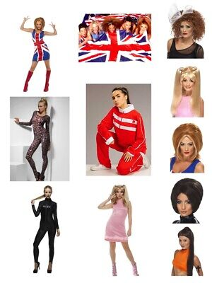 Womens Spice Girl Fancy Dress Costumes W Wig Scary Sporty Baby Ginger Posh Party • 41.64£