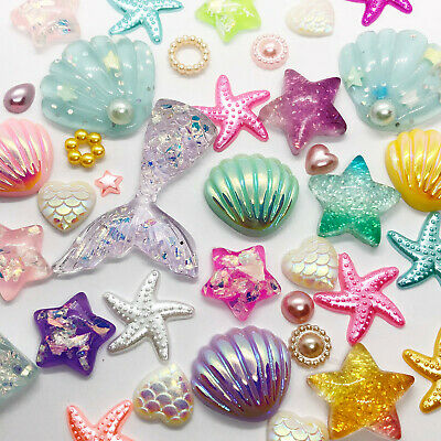50 Mixed Flatback Resin Embellishments Cabochons Mermaid Sea Shell Decoden DIY  • 7.99£