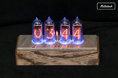 Nixie Tubes Clock With IN-14 Tubes With Backlight Alarm Natural Wood And Marble • 182.24£
