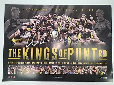 AU349 • Buy Richmond Tigers DUSTIN MARTIN Hand Signed The KINGS OF PUNT ROAD FRAMED PREMIERS