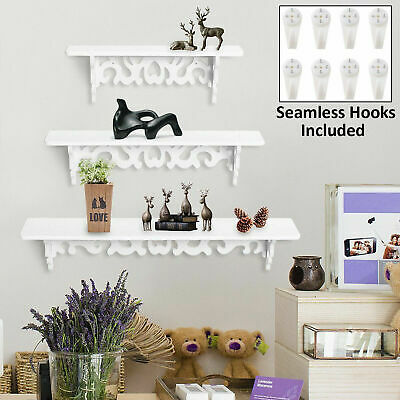Set Of 3 White Floating Wall Shelves Display Storage Shelf Wall Wood Unit Rack • 8.99£