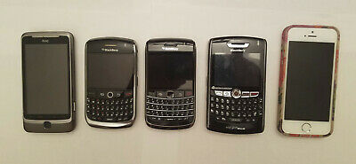$ CDN88 • Buy Lot Of 5 Cell Phones / IPhones 6s, HTC, BlackBerry 8900, 9700, 8830  AS IS PARTS