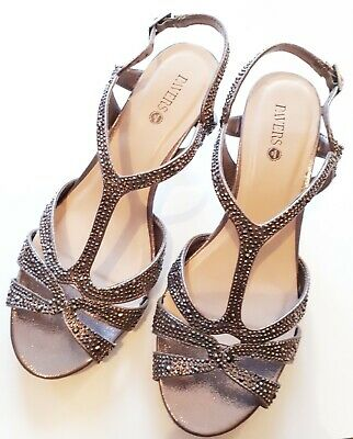 Pewter Diamante Strappy Sandals Heels Dance Shoes By Pavers Wide Fit Size 8/41 • 9.99£