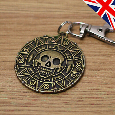 Skull Doubloon Keyring - Pirate Gothic Old Coin Metal Vintage Keychain Gift • 3.49£