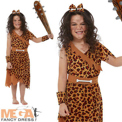 Cave Girl Kids Fancy Dress Stone Age Cavegirl Book Day Costume + Inflatable Club • 11.99£