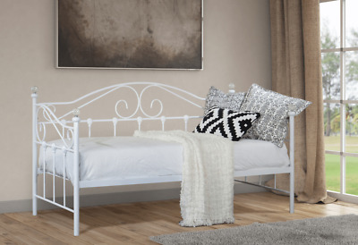 £49.95 • Buy Small Single Metal Day Bed White Or Black Guest Bed With Trundle Mattress Option
