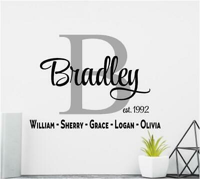£10.91 • Buy Personalized Family Name Vinyl Wall Decal Sticker Lettering Wall Decor