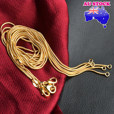 AU8.98 • Buy Classic 18K Gold Plated 1mm Round Snake Chain Necklace Gift