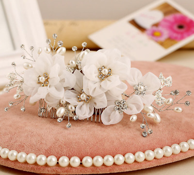 Bridal Pearl And Crystal Flower Hair Comb • 25.05£