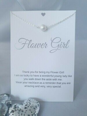 Flower Girl Wedding Gift Faux Pearl Necklace With Keepsake  Card  Bride  • 5.99£