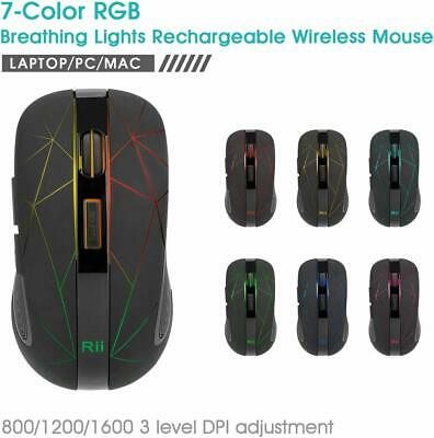 AU20.99 • Buy Colorful LED Backlit Rii RM200 Wireless Mouse Rechargeable Adjustable DPI For PC