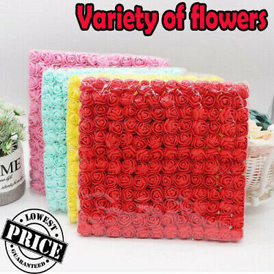 144Pcs Artificial Flowers Mini Foam Roses With Stem Wedding Bouquet Decor Z4 UK • 4.49£